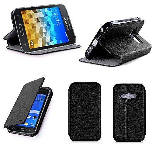 Nera Custodia Pelle Ultra Slim per Samsung Galaxy Trend 2 Lite Smartphone - Flip Case Funda Cover Protettiva Samsung Galaxy Trend 2 Lite (PU Pelle - Nero/Black) - XEPTIO Accessori