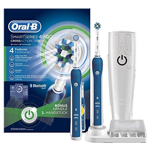Oral-B SmartSeries 4900 Elektrische Zahnbürste, mit Timer und Andruckkontrolle, Bonus Pack mit 2 Handstücken, weiß/blau