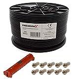 PremiumX 100 Meter Sat Koaxial Kabel 90dB Twin Mini 2X 4 mm Schwarz Antennenkabel + Abisolierwerkzeug mit 2 Klingen für RG58 59/62 RG6 + 10 F-Stecker