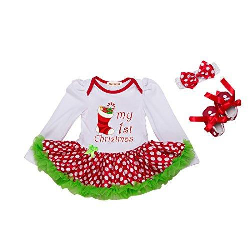3 Stück Baby Mädchen Bekleidung Set Langarm Bodysuit Strampler mit Tütü Kleid Weihnachtsmann Kostüm für Weihnachtsgeschenk für 6-12 Monate