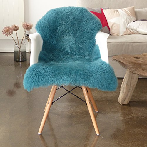 Vendôme premium Lammfell Schaffell 95cm, ökologisch gegerbt, flauschiger Teppich, Luxus Kuschelfell, Farbe türkis
