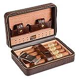 Volenx Reise-Humidor / Etui für Zigarren aus Krokodilleder, Innenauskleidung aus Zedernholz, Halter für 4Zigarren, mit Edelstahl-Cutter-Set (Mokka-Braun)
