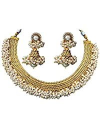 b2bd9f446d9291 Quail 100% Copper Traditional Ethnic Gold Plated Golden White Pear Beads Necklace  Set With Earrings