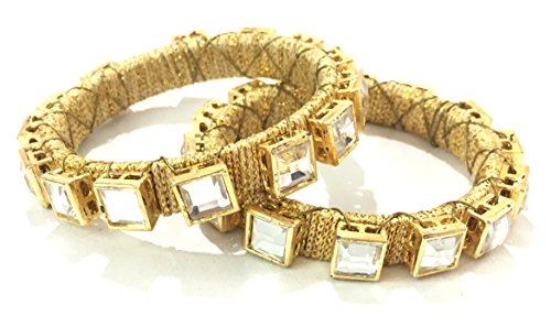 AKSHAJ (Set of 2) Trendy Latest Golden Threaded Square Diamond Bangles Traditional Ethnic Look Kada for Women Girls (2.8 inch)