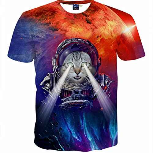 Men's 3D Colours Printed Both Sides Short Sleeves O Neck Tee Shirt g1537