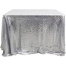 San Tungus® 177,8x 274,3cm Argent Mariage de Noël à Paillettes Table Chiffons, Tissu, Silver, 70x108 -inch