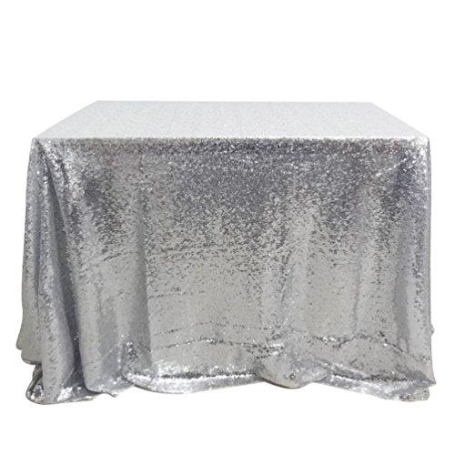 San Tungus 127x 182,9cm argento paillettes tovaglia, Tessuto, Silver, 50x72 Inch