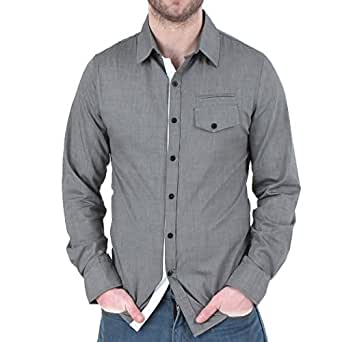 Premium Slim Fashion Casual Mannsm Okin Ghemde Shirt Beautiful Collection Casual Men's Shirts Slim Fit Shirts - Grey - Small