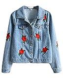 Minetom Damen Mädchen Beiläufig Stilvoll Bestickt Rose Gewaschene Jeans Denim Jeansjacke Jacket Oberbekleidung Coats Mantel Blau DE 38