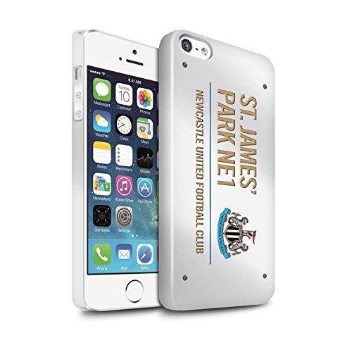 Offiziell Newcastle United FC Hülle / Glanz Snap-On Case für Apple iPhone SE / Pack 6pcs Muster / St James Park Zeichen Kollektion Weiß/Gold