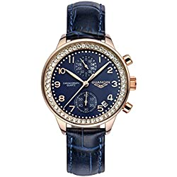 GUANQIN Fashion Formal Brand Women Analogue Waterproof Quartz Stainless Steel and Leather Calendar Chronograph Rhinestone Wrist Watch Simple Design Gold Blue