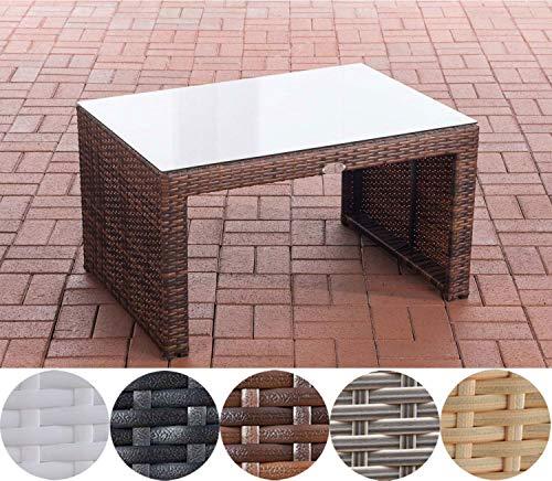 CLP Poly-Rattan Garten Lounge-Tisch Casablanca ca. 85 x 60 cm I Höhe: 50 cm I Glasplatte 5 mm...