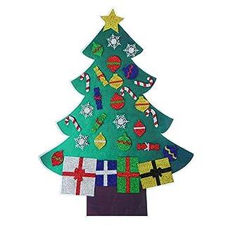 Hamkaw Fieltro árbol De Navidad, Árbol De Navidad De Bricolaje con Adornos De Pintura De Diamantes Desmontables, Decoración De Pared Niños Pequeños