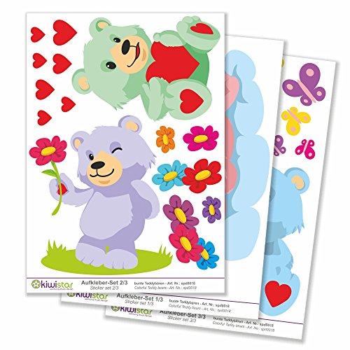 Kiwistar Glückliche Bären Wolken Gesamtgröße, Wandsticker Set Bogen Aufkleber farbig DIN A4