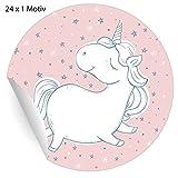 24 zauberhafte Einhorn Aufkleber für Mädchen mit Sternen, rosa, MATTE universal Papieraufkleber...