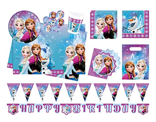 (Procos 10110970B Partyset Disney Frozen Northern Lights, Größe XL, 52 teilig)