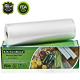 KitchenBoss Sottovuoto Sacchetti Alimenti,1 pezzi da 28x1500 cm Sacchetti per Sottovuoto con Scatola Fresa(Non più forbici) per la Conservazione Sottovuoto Alimenti