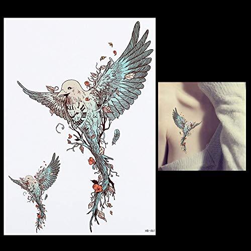 tzxdbh 3 Stücke 1 Blatt Flying Eagle Tattoo Wasserdicht DIY Aufkleber Hb461 Schönheit Frauen Männer Körper Zurück Bein Kunst Blume Temporäre Tätowierung Aufkleber -