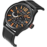 Curren Casual Watch For Men Analog Leather - 8247 - Black