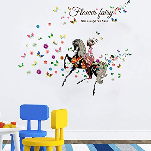(LQWE 3D Wandaufkleber Schmetterlings-Blumen-Märchen-Wand-Aufkleber-Plakat für Hauptdekoration-Abziehbild-Wand-Kunst 60X90Cm)
