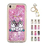 Kawaii-Shop Coque iPhone 5 5S Se Glitter Liquide, Cute Famille Licorne TPU Silicone...