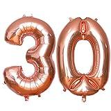 Luftballons 30. Geburtstag, HTBAKOI 30 Geburtstag Luftballon Rosegold 100cm (40 Zoll)Riesige Heliumballons als Dekoration Zum 30. Geburtstagsparty