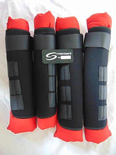 Equestrian Stabile Neopren Transportgamaschen Bein Schutz Wrap Rot-Set von 4, Rot, XL