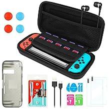 Kit de Accesorios para Nintendo Switch, Funda Portátil AGPtEK y Herramienta para Reparar, Protector de Pantalla de Vidrio Templado, Funda de TPU, Cable Cargador y Audífono con Micrófono