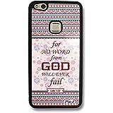 Pin-1 Funda rígida para la espalda con parachoques TPU para [Huawei P10 Lite] - Bible Luke 1:37 god will ever fail DSE0298
