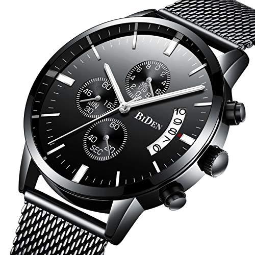 Montres, Montres pour hommes Classique Business Style noir en acier inoxydable Casual luxe montre-bracelet à quartz, imperméable à l'eau multifonction avec Milan Mesh Strap