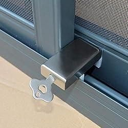 Dizi248-Butée de porte et fenêtre coulissantes, acier inoxydable, anti-effractions, sécurité pour enfant, clé.