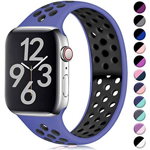 Hamile Correa para Apple Watch 42mm 44mm, Doble Color Pulsera de Repuesto de Silicona Suave Transpirable Correa para Apple Watch Series 5/4/3/2/1, M/L Real Azul/Negro