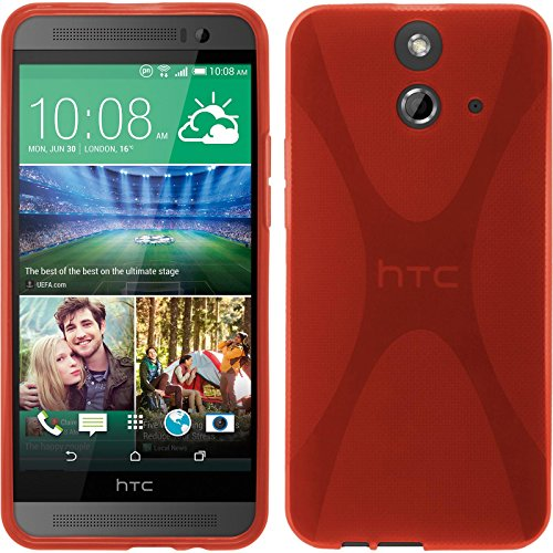 PhoneNatic Case für HTC One E8 Hülle Silikon rot, X-Style + 2 Schutzfolien