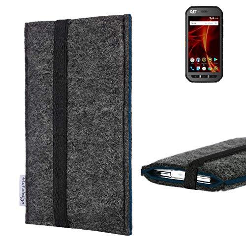 flat.design Handyhülle Lagoa für Caterpillar Cat S41 Dual-SIM | Farbe: anthrazit/blau | Smartphone-Tasche aus Filz | Handy Schutzhülle| Handytasche Made in Germany