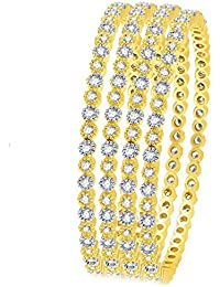Zeneme Precious American Diamond Designer Gold Plated Bangle Jewellery For Women / Girls Set Of 4