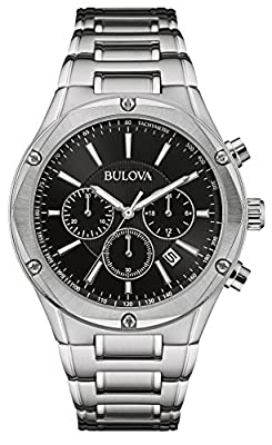 Bulova Men's Quartz Watch with Black Dial Chronograph Display and Silver Stainless Steel Bracelet 96B247