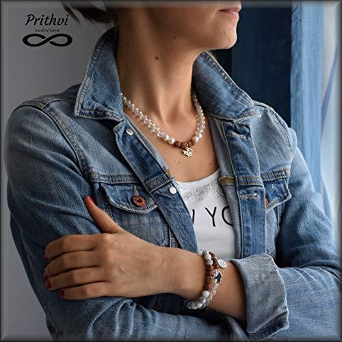 Sportlich elegante Halskette + 2 Armbänder für Damen - JOGA - Kristall (8mm), Rudraksha (8mm), Perlmutt (8mm), Magnesit (8mm)