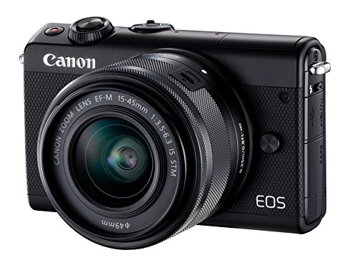 Canon EOS M100 Systemkamera (24,2MP, 7,5 cm (3 Zoll) Display, WLAN, NFC, Bluethooth, Full HD) Double Zoom Kit mit EF-M 15-45 mm f/3.5-6.3 IS STM und EF-M 55-200 mm f/4.5-6.3 IS STM schwarz