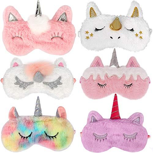 Bascolor 6 Piezas Unicornio Antifaz para Dormir Máscara para Dormir Unicornio Animal Máscara de Ojos Venda Viajar Siesta Niños Niña Mujer