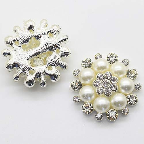 28mm Perle (Wagonste - 5pcs / Set 28mm Schön Silber überzogenes Faux-Perlen-freies Glas Strass Buttons DIY Kristall weddign Dekorative)