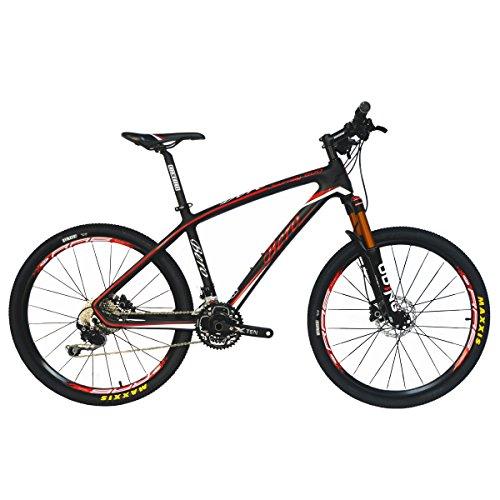 BEIOU® Carbon Fiber Mountain Bike MTB Hardtail 10.65kg Shimano Deore M610-30velocità Ultralight Telaio RT 26interno professionale cavo fibra di carbonio Toray T800Mozzi opaco cb025a, Glossy white & red,