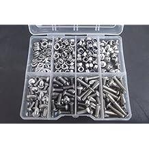 M5tornillo de cabeza Allen Socket botón, tuerca y arandela Kit en una caja, 300piezas, A2–70acero inoxidable