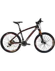 BEIOU® Fibra de Carbono para Bicicleta de montaña Hardtail MTB 10.65kg Shimano M610Deore 30Velocidad ultraligero profesional de marco RT pulgadas interna Cable Routing Toray T800bujes de carbono mate cb025a, color Glossy white & red, tamaño 19-Inch, tamaño de rueda 26.00 inches
