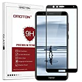 Protection D'écran Honor 7X, OMOTON Film Protection en Verre Trempé Complet [Couverture Complète] [Dureté 9H] [Anti-rayure] pour Honor 7X, Noir