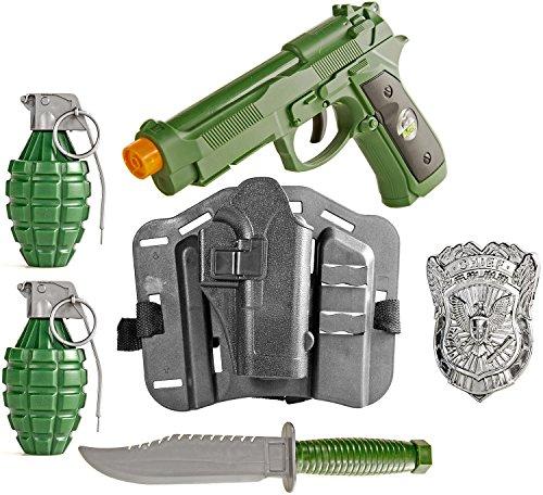 Nick and Ben Spielzeug-Pistole Holster Polizeimarke Set Polizei-Kostüm Soldat FBI Set Police Kinder