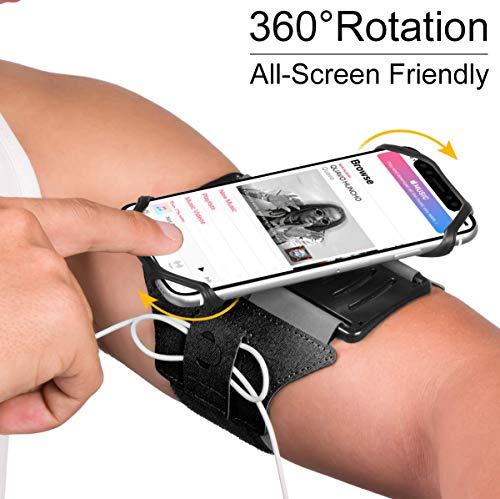 Brassard Multifonctionnel de Sport l'Anti-Sueur pour Telephone au Bras pour iPhone X / 8 Plus/ 7 Plus/ 6 / 6s /,Samsung Galaxy S8 / S7 / S6 Huawei,180°Rotatif avec la Sangle Adjustable du VUP (Noire)