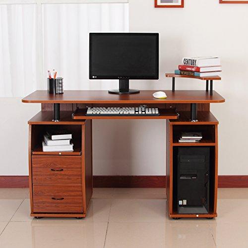 Homcom Wooden Office Computer PC Table Desk Desktop Home Furniture Workstation w/ Drawers Shelves Keyboard Shelf (Walnut)