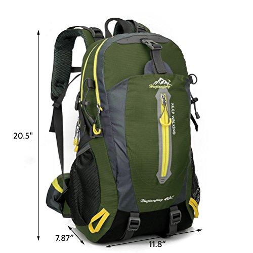 dushow Damen und Herren Outdoor 40L Rucksack Wanderrucksack/Camping Rucksack/Reise Daypack/Casual Pack für Outdoor Klettern, Trekking, Radfahren dunkelgrün