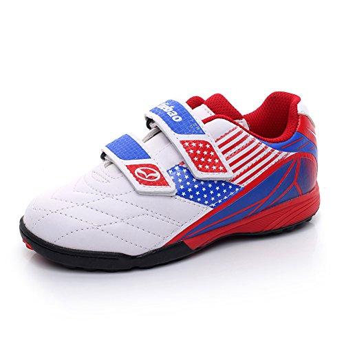 Tiebao Garçons Classique Boucle&Crochet Chaussures de Football Professionnel Chaussures de Sport Enfants / Juniors Taille Blanc