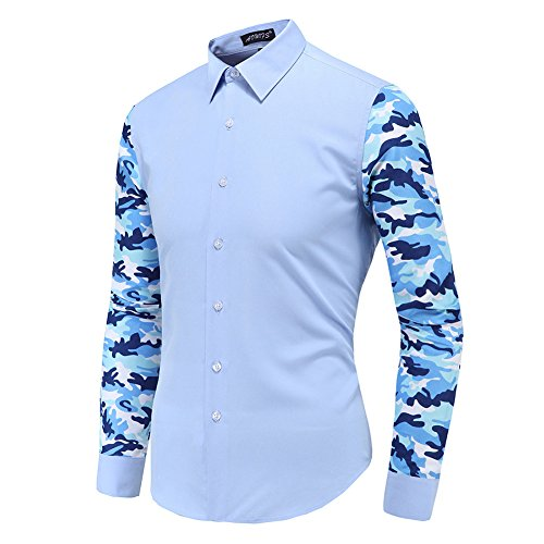 Camicia uomo - moda camouflage stampato slim fit manica lunga t-shirt turn-down colletto casual top per autunno inverno bianco/azzurro m-5xl